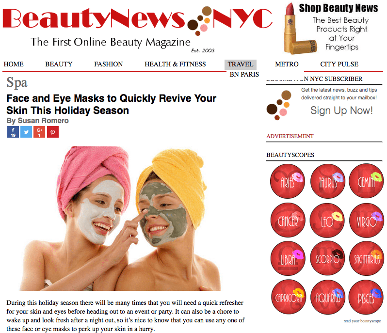 Beauty News NYC Recommends Bel Mondo Masks