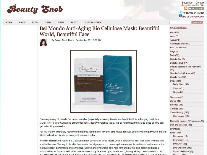 Beautysnobcom Declares Bel Mondo Masks A Must Try Bel Mondo Beauty